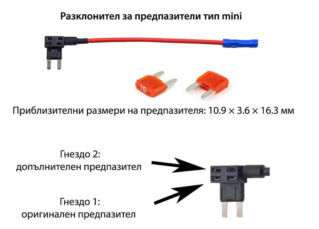 Разклонител за бушони тип Mini с 2 предпазителя 10A